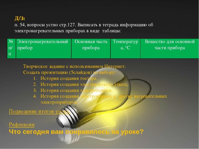 Д/З: п. 54, вопросы устно; Ф-8, А.В.Перышкин Д/З: п. 54, вопросы устно стр.12...