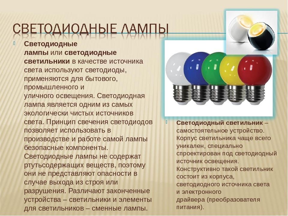 Светодиодные лампыилисветодиодные светильникив качестве источника света ис...