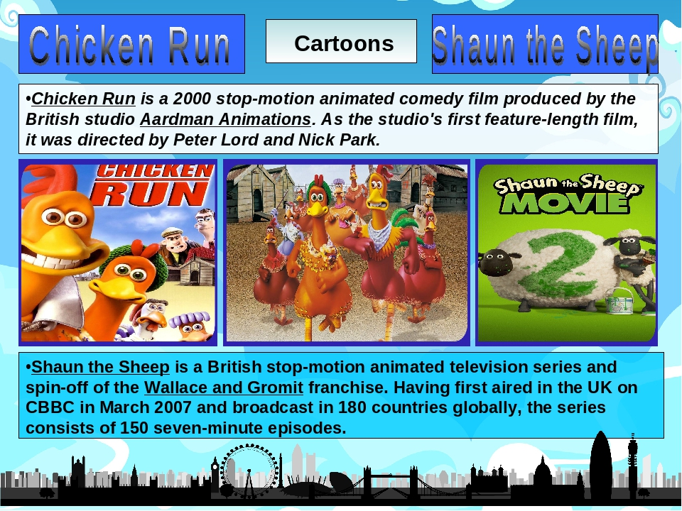 Cartoons Chicken Run is a 2000 stop-motion animated comedy film produced by t...