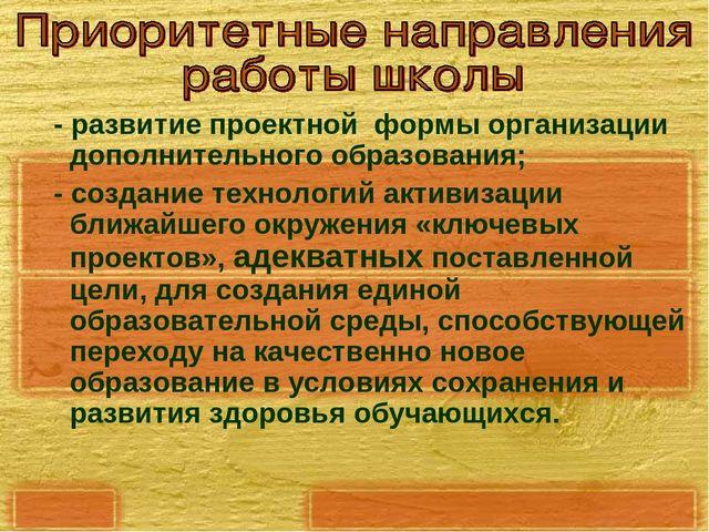- развитие проектной формы организации дополнительного образования; - создан...