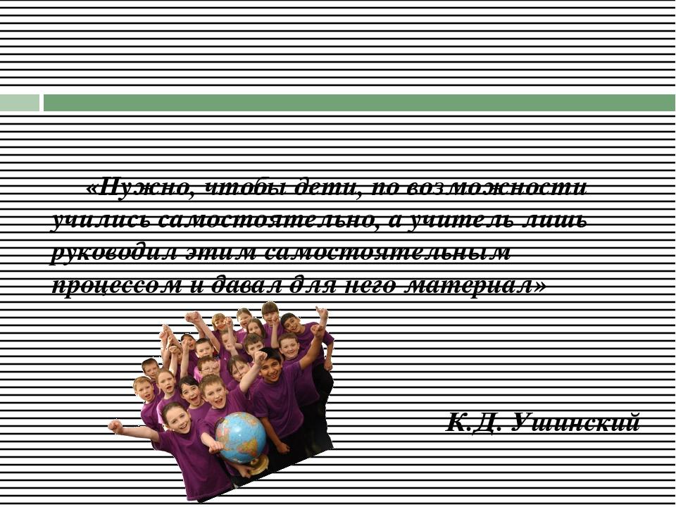 «Нужно, чтобы дети, по возможности учились самостоятельно, а учитель лишь р...
