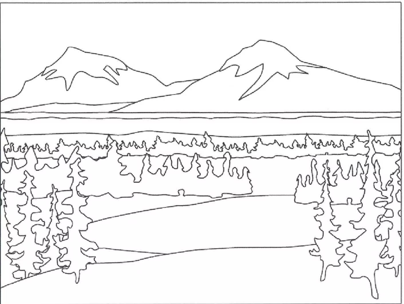Раскраска для детей горы
