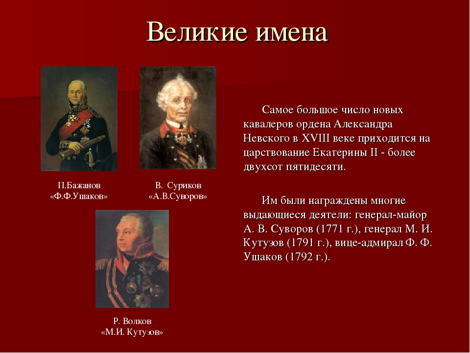 Великие имена Самое большое число новых кавалеров ордена Александра Невского...