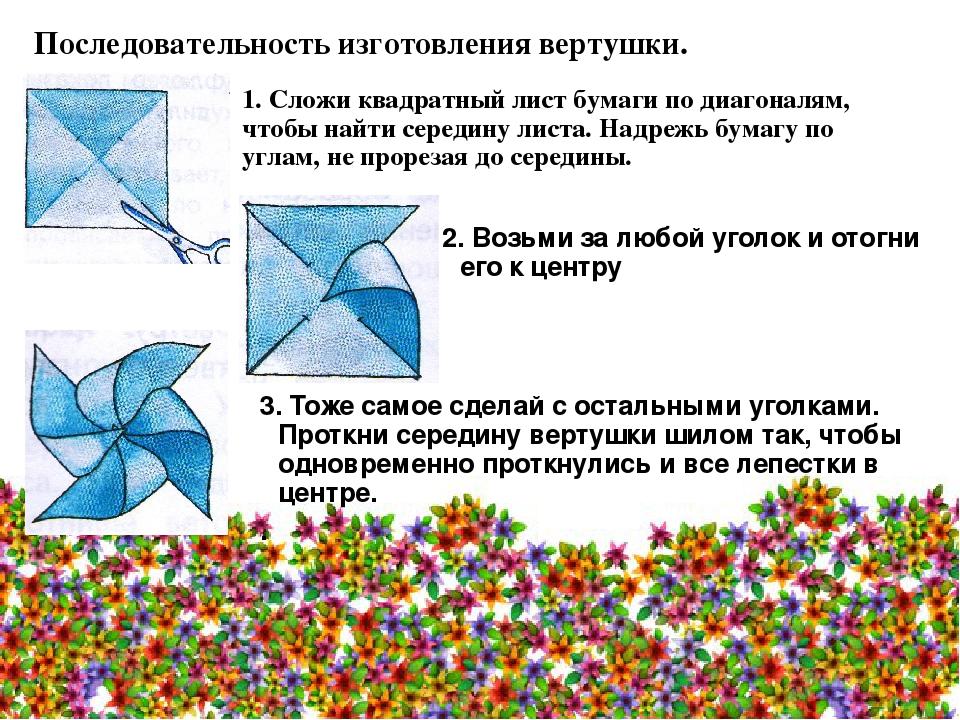 Последовательность изготовления вертушки. 1. Сложи квадратный лист бумаги по...
