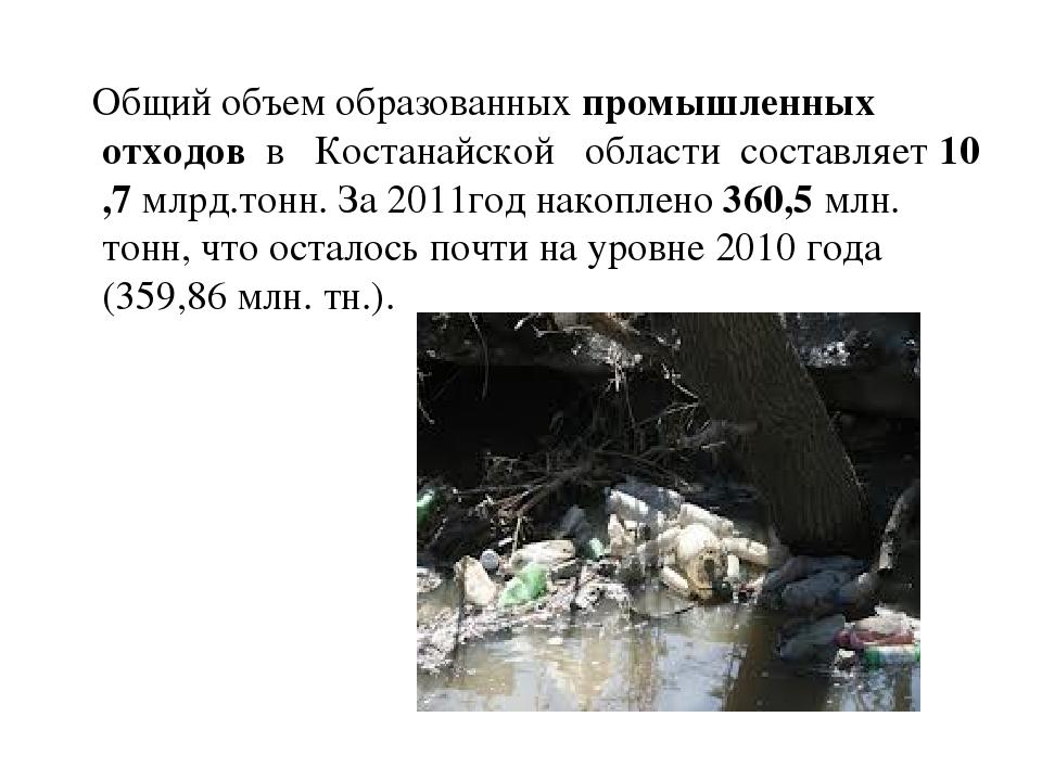 Общий объем образованныхпромышленных отходоввКостанайскойобластис...