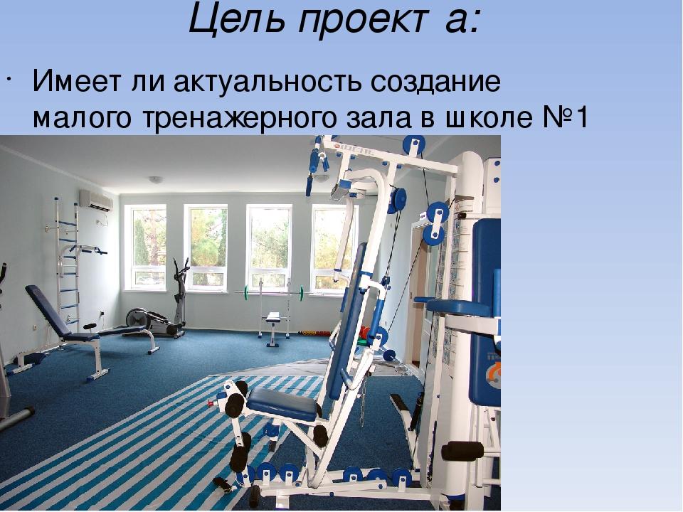 Цель проекта: Имеет ли актуальность создание малого тренажерного зала в школе...