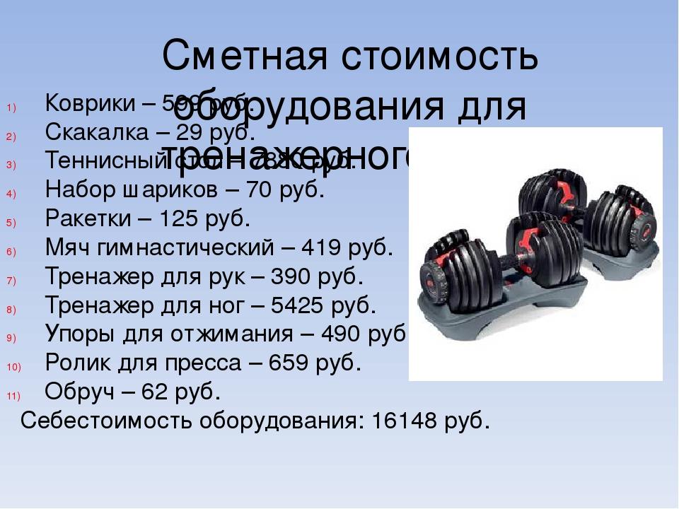 Сметная стоимость оборудования для тренажерного зала. Коврики – 599 руб. Скак...