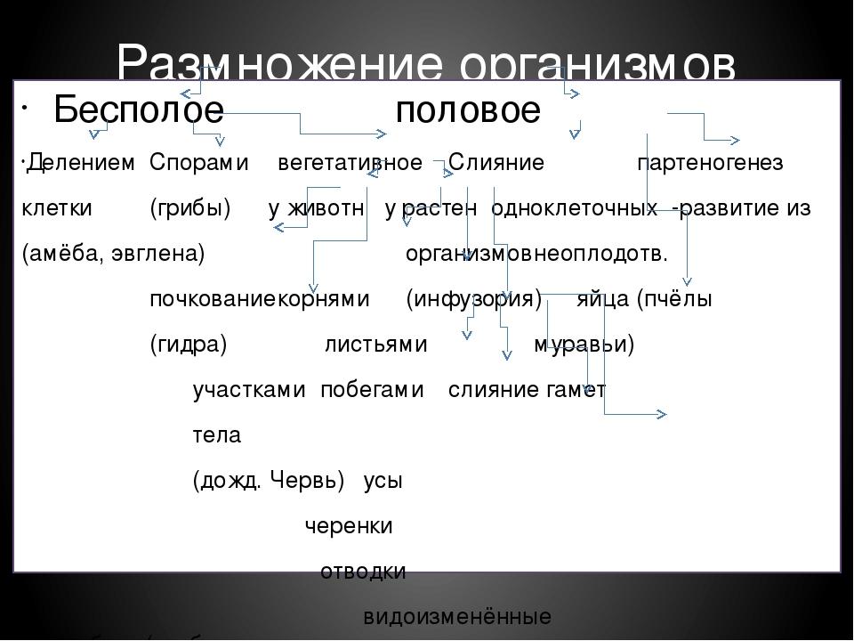 Размножение организмов Бесполоеполовое ДелениемСпорамивегетативноеСли...