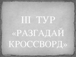 III  ТУР «РАЗГАДАЙ КРОССВОРД»
