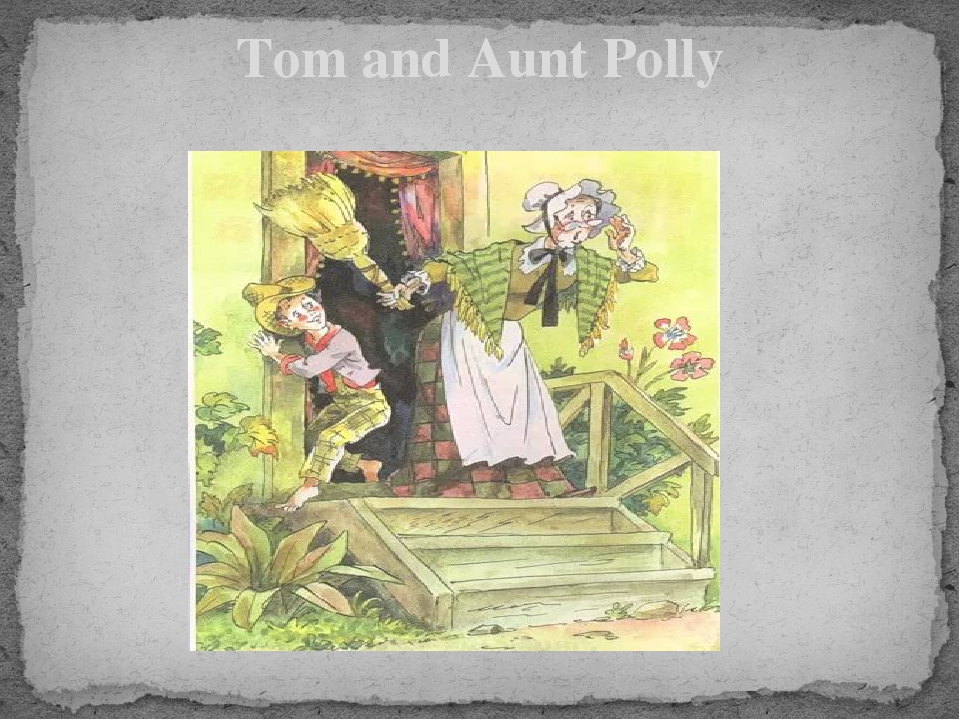 a description of tom sawyer who lives with his aunt polly Tom lives with his aunt polly and often gets into trouble aunt polly tells him to whitewash the fence, so he tells his friends that painting the fence is fun and they find injun joe who is looking to bury treasure somewhere huck stays to watch while tom goes on a school picnic he and becky go into.