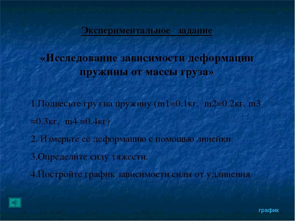 Экспериментальное задание «Исследование зависимости деформации пружины от мас...