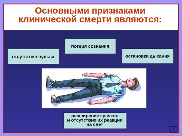 Основными признаками клинической смерти являются: потеря сознания остановка д...