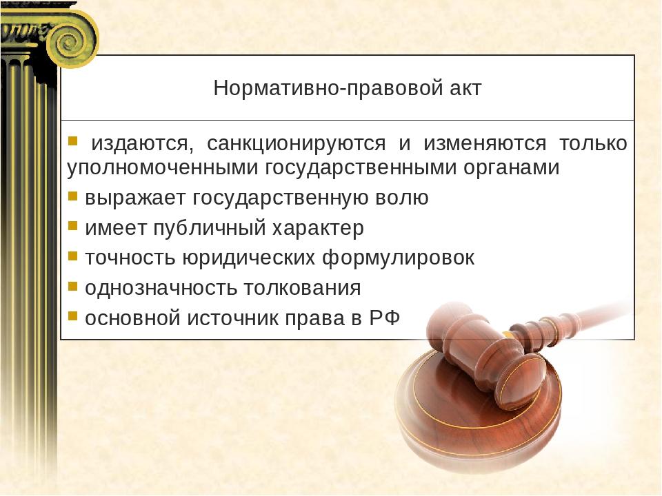 Нормативно-правовой акт издаются, санкционируются и изменяются только уполном...