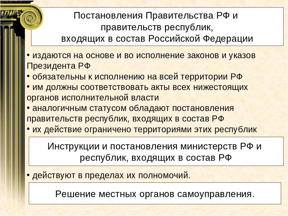 Постановления Правительства РФ и правительств республик, входящих в состав Ро...