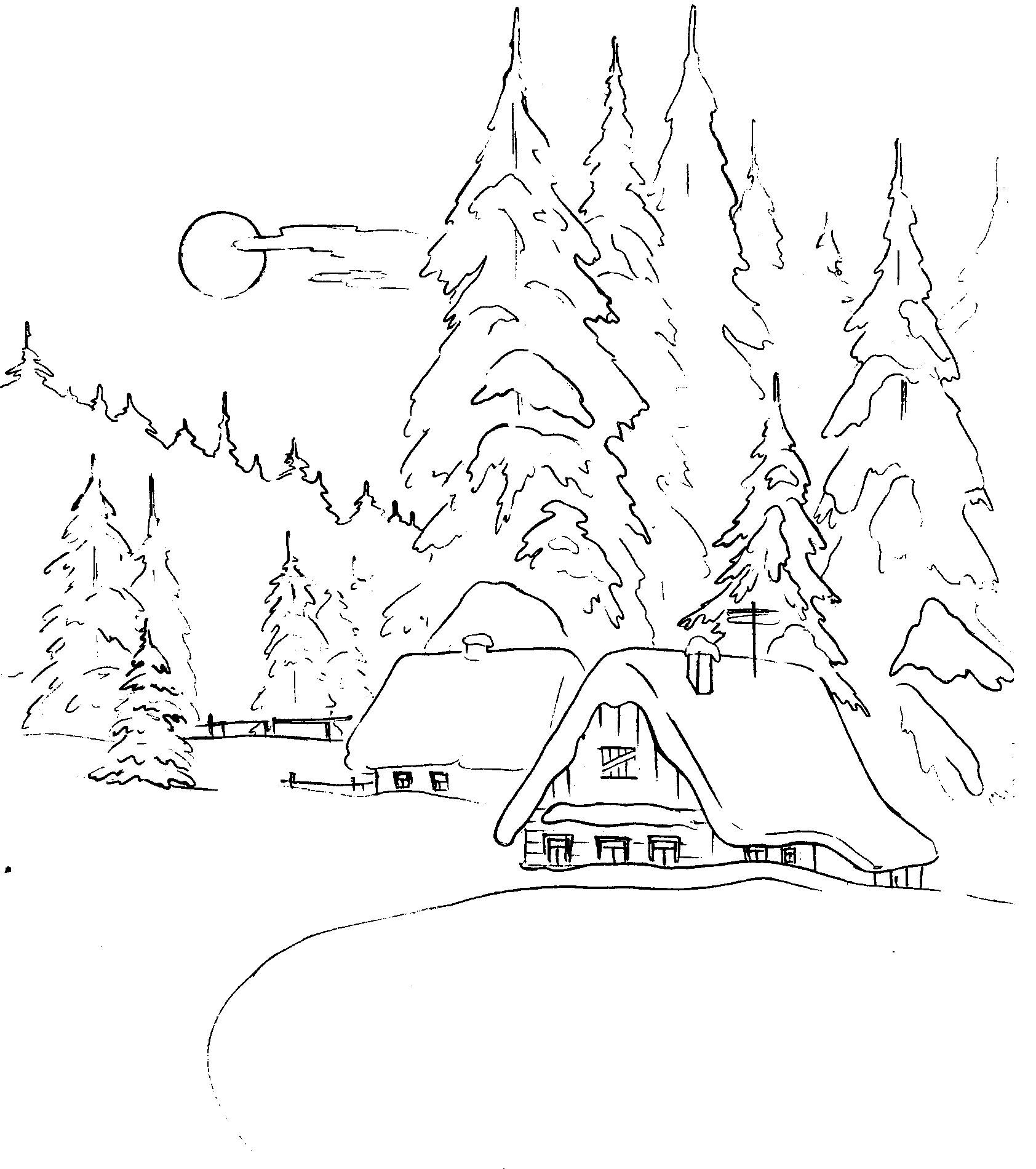 Японии картинки, картинка зимний лес для детей раскраска