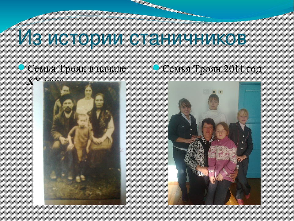 Из истории станичников Семья Троян в начале XX века Семья Троян 2014 год