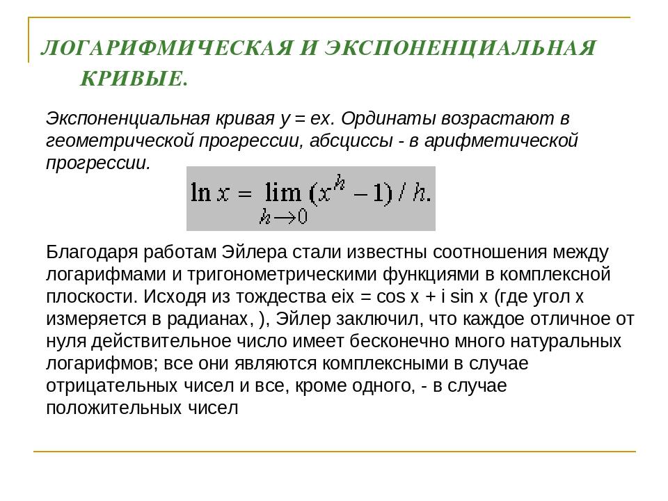 Экспоненциальная кривая y = ex. Ординаты возрастают в геометрической прогрес...