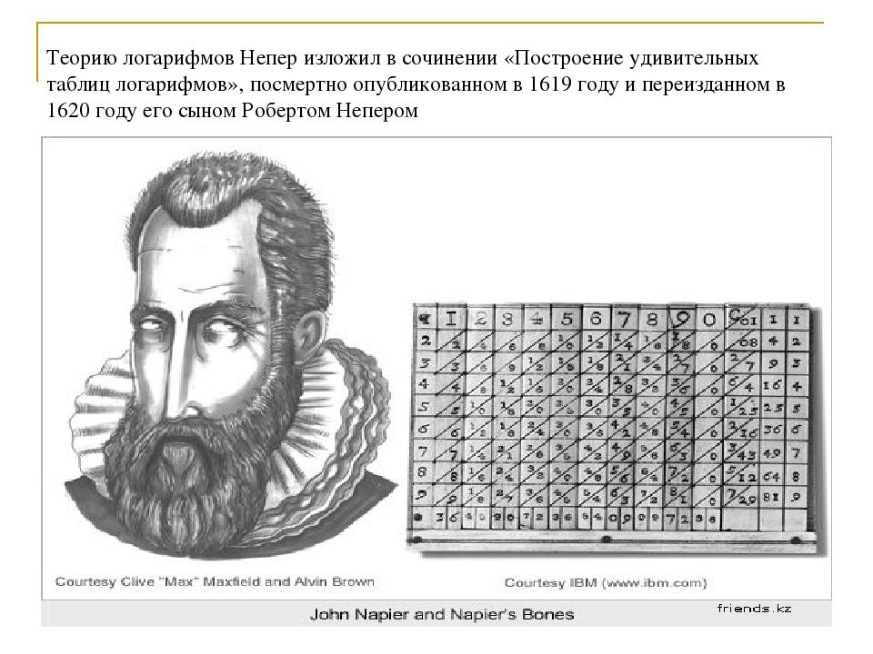Теорию логарифмов Непер изложил в сочинении «Построение удивительных таблиц л...