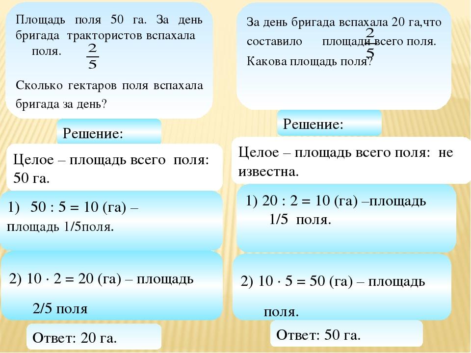 50 : 5 = 10 (га) – площадь 1/5поля. 1) 20 : 2 = 10 (га) –площадь 1/5 поля. 2)...