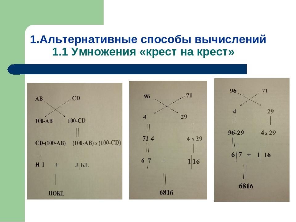 1.Альтернативные способы вычислений 1.1 Умножения «крест на крест»