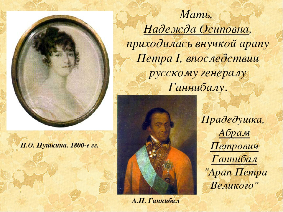 Мать, Надежда Осиповна, приходилась внучкой арапу Петра I, впоследствии русск...