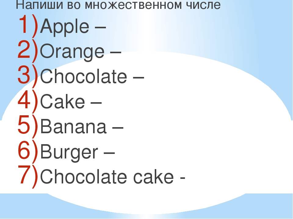 Напиши во множественном числе Apple – Orange – Chocolate – Cake – Banana – B...