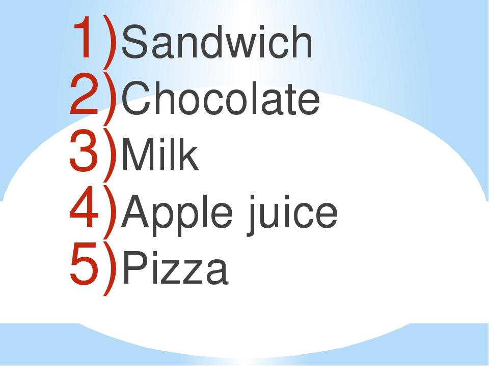 Sandwich Chocolate Milk Apple juice Pizza