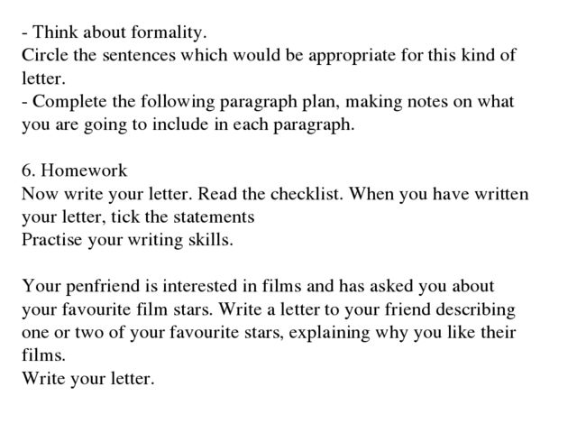 a letter to your friend describing