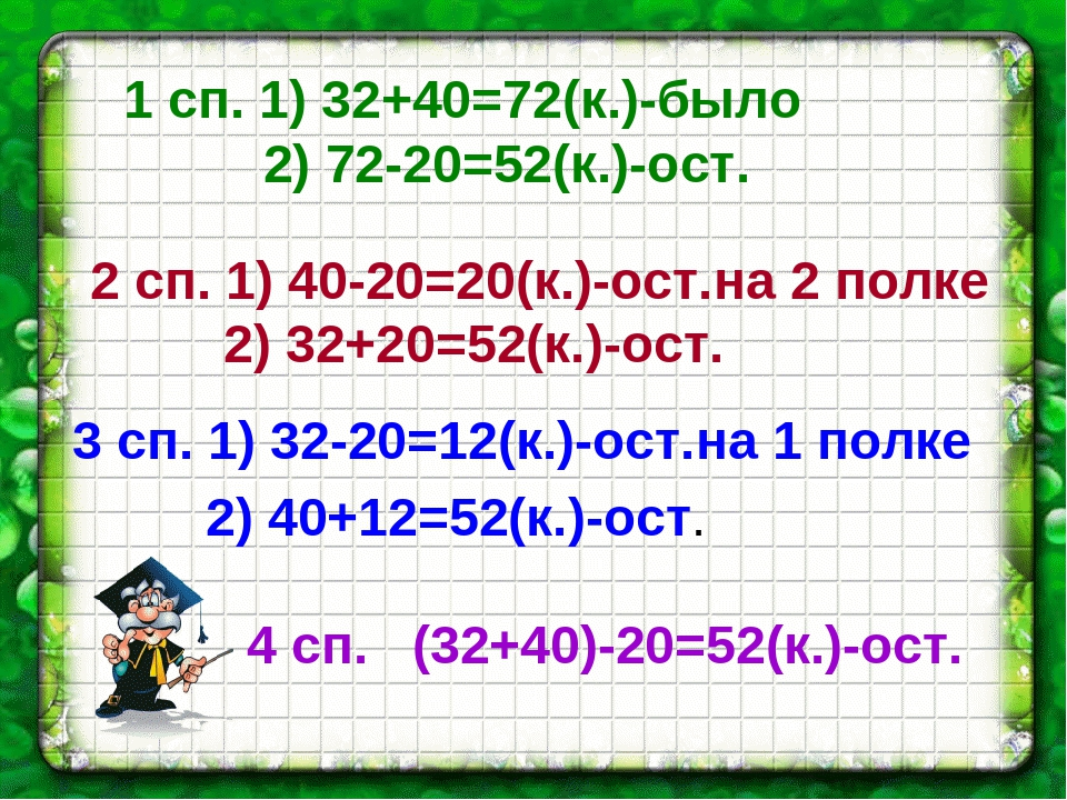 1 сп. 1) 32+40=72(к.)-было 2) 72-20=52(к.)-ост. 4 сп. (32+40)-20=52(к.)-ост....