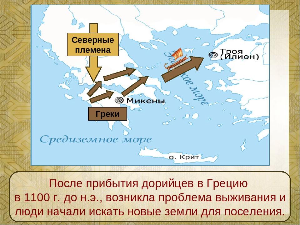 Северные племена Греки После прибытия дорийцев в Грецию в 1100 г. до н.э., во...