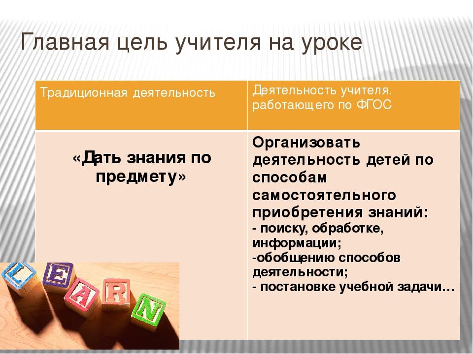 Главная цель учителя на уроке Традиционнаядеятельность Деятельность учителя....