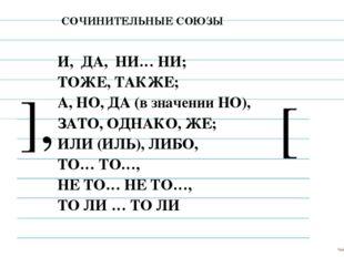 СОЧИНИТЕЛЬНЫЕ СОЮЗЫ Задание 15 И, ДА, НИ… НИ; ТОЖЕ, ТАКЖЕ; А, НО, ДА (в значе