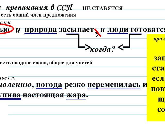 Знаки препинания в ССП Задание 15 НЕ СТАВЯТСЯ Если есть общий член предложени...