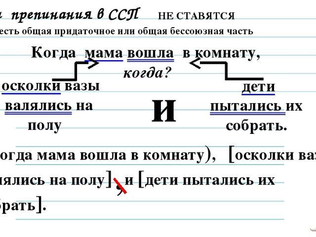 Знаки препинания в ССП НЕ СТАВЯТСЯ 3. Если есть общая придаточное или общая б...