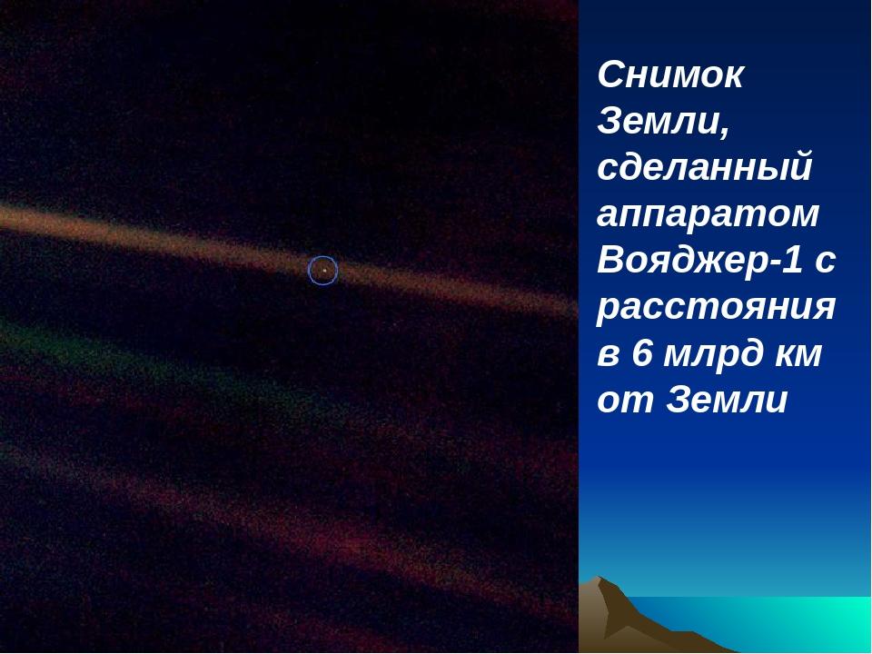 Снимок Земли, сделанный аппаратом Вояджер-1 с расстояния в 6 млрд км от Земли