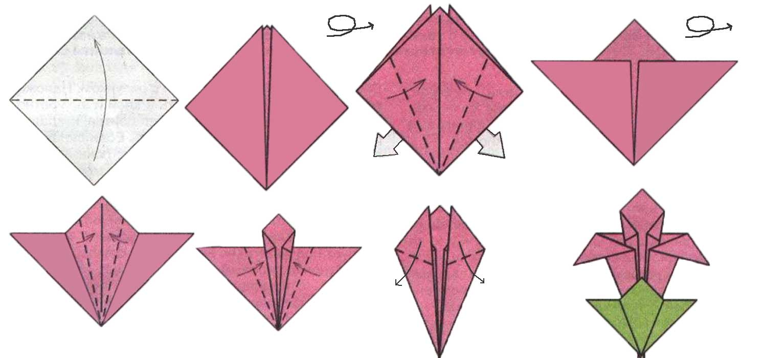 Открытки оригами из бумаги к 8 марта