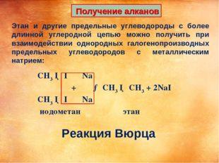 Получение алканов Этан и другие предельные углеводороды с более длинной угле