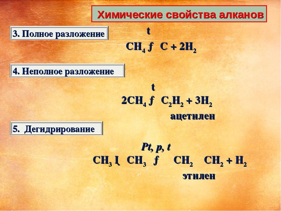 Химические свойства алканов t CH4 → C + 2H2 t 2CH4 → C2H2 + 3H2 ацетилен Pt,...