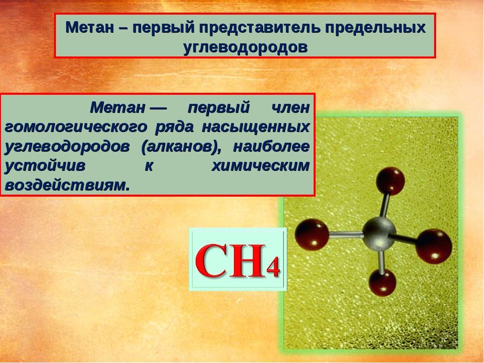 Метан – первый представитель предельных углеводородов Метан— первый член гом...
