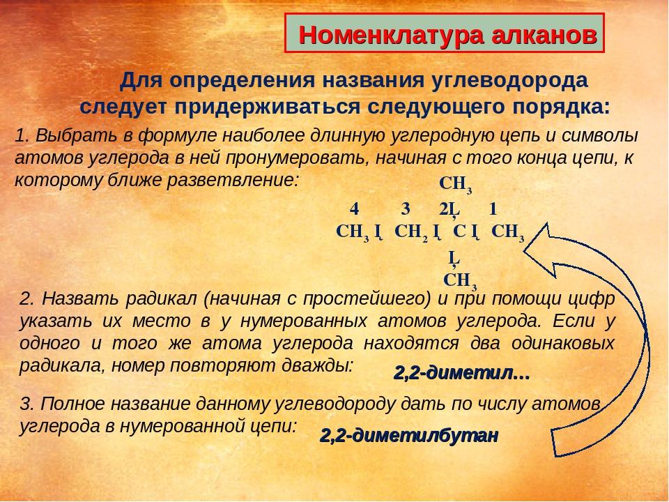 Номенклатура алканов Для определения названия углеводорода следует придержив...