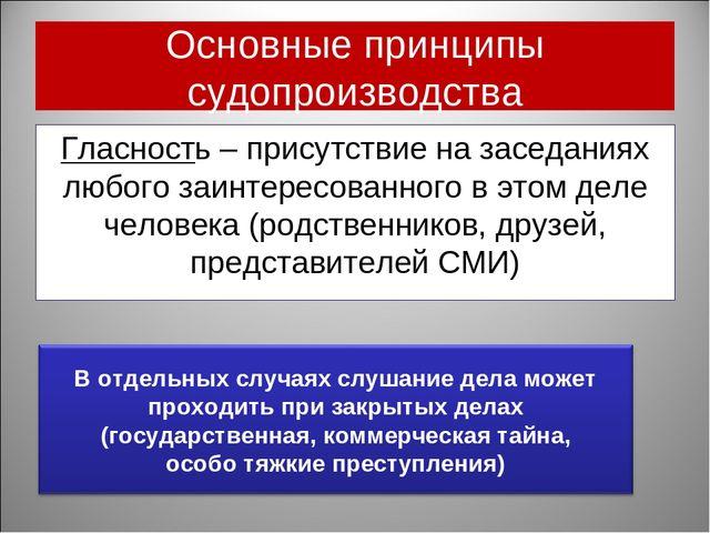 Основные принципы судопроизводства Гласность – присутствие на заседаниях любо...