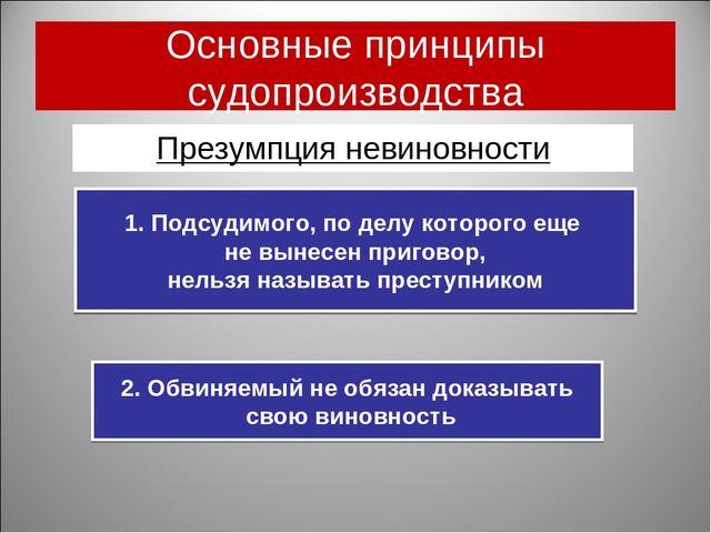 Основные принципы судопроизводства Презумпция невиновности 2. Обвиняемый не о...
