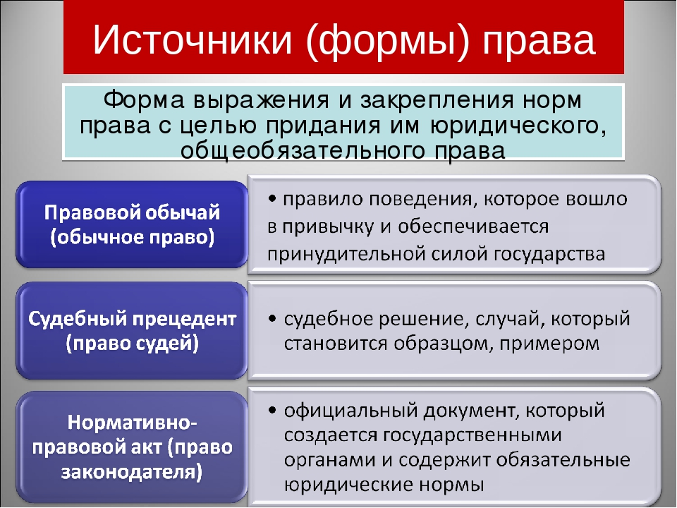 Источники (формы) права Форма выражения и закрепления норм права с целью прид...