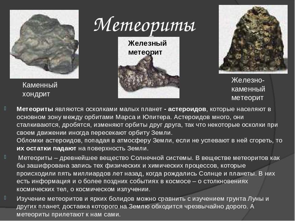 Метеориты Метеориты являются осколками малых планет - астероидов, которые нас...