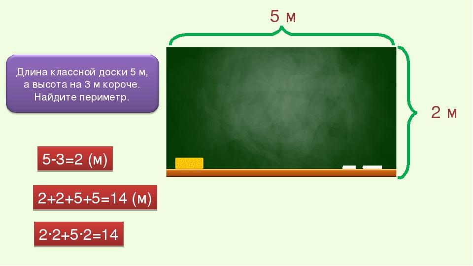 5 м 2 м 5-3=2 (м) 2+2+5+5=14 (м) 2·2+5·2=14