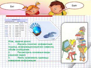 Итак, задачи урока: 1.Изучить понятия: алфавитный подход, информационный вес