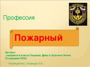 Профессия Авторы: учащиеся 8 класса Пешаков Дима и Шуклина Элена Устьрецкая О