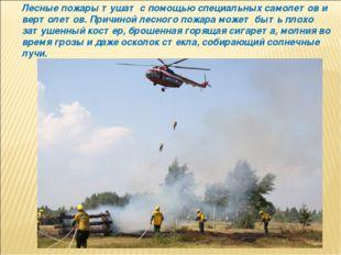 Лесные пожары тушат с помощью специальных самолетов и вертолетов. Причиной ле
