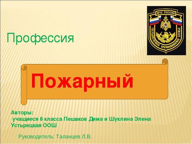 Профессия Авторы: учащиеся 8 класса Пешаков Дима и Шуклина Элена Устьрецкая О...