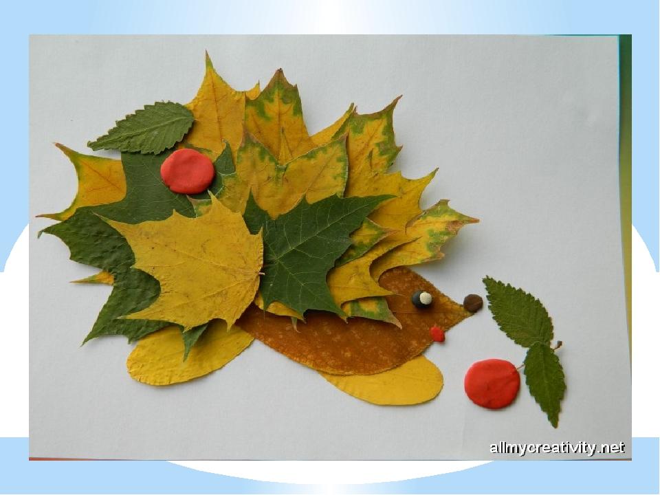 Ежик с листьями поделка 60